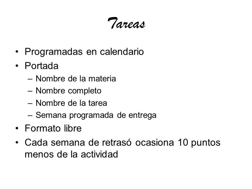 Tareas Programadas en calendario Portada Formato libre
