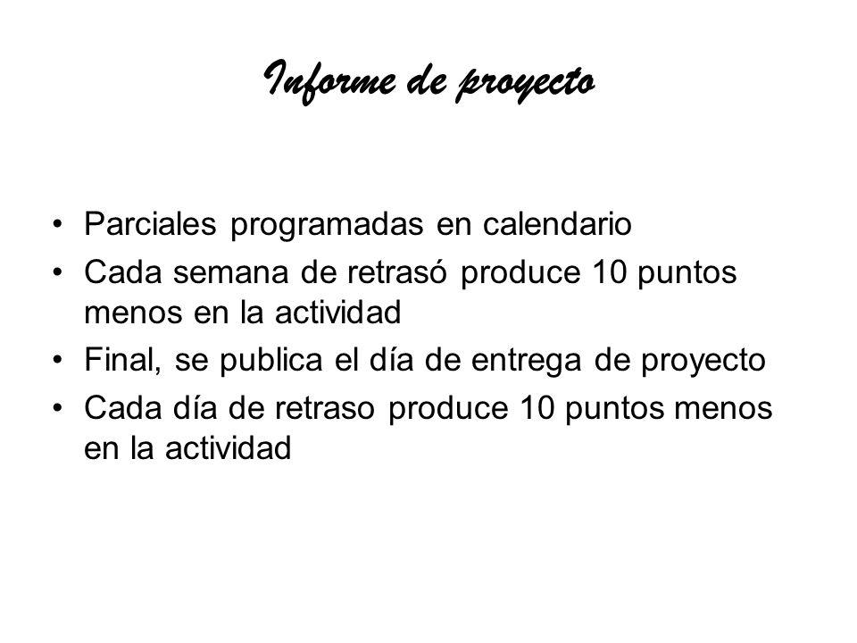 Informe de proyecto Parciales programadas en calendario