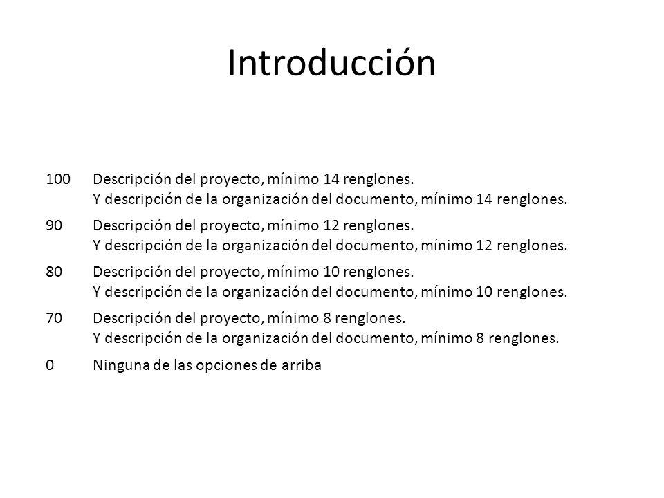 Introducción 100 Descripción del proyecto, mínimo 14 renglones.