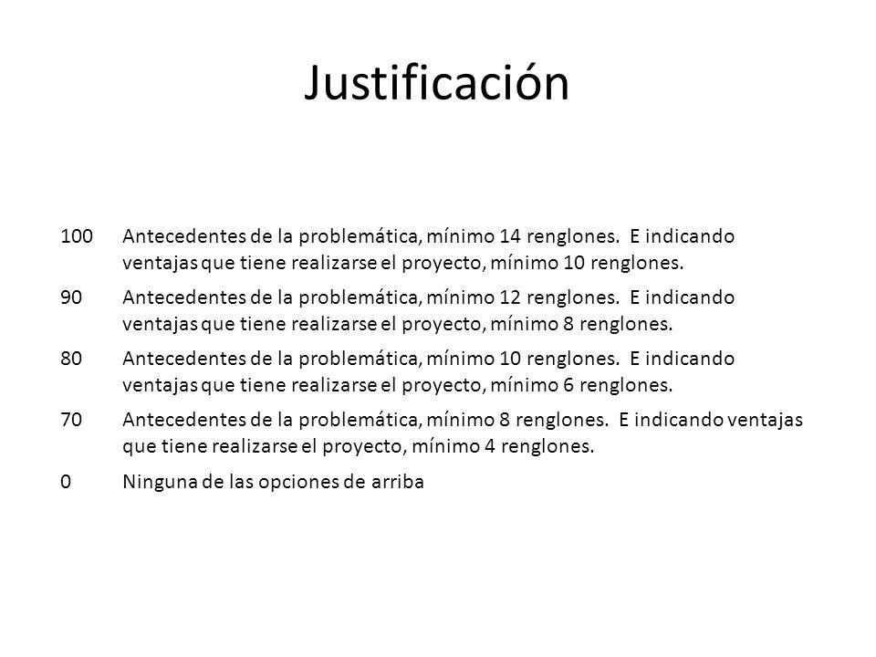Justificación 100.