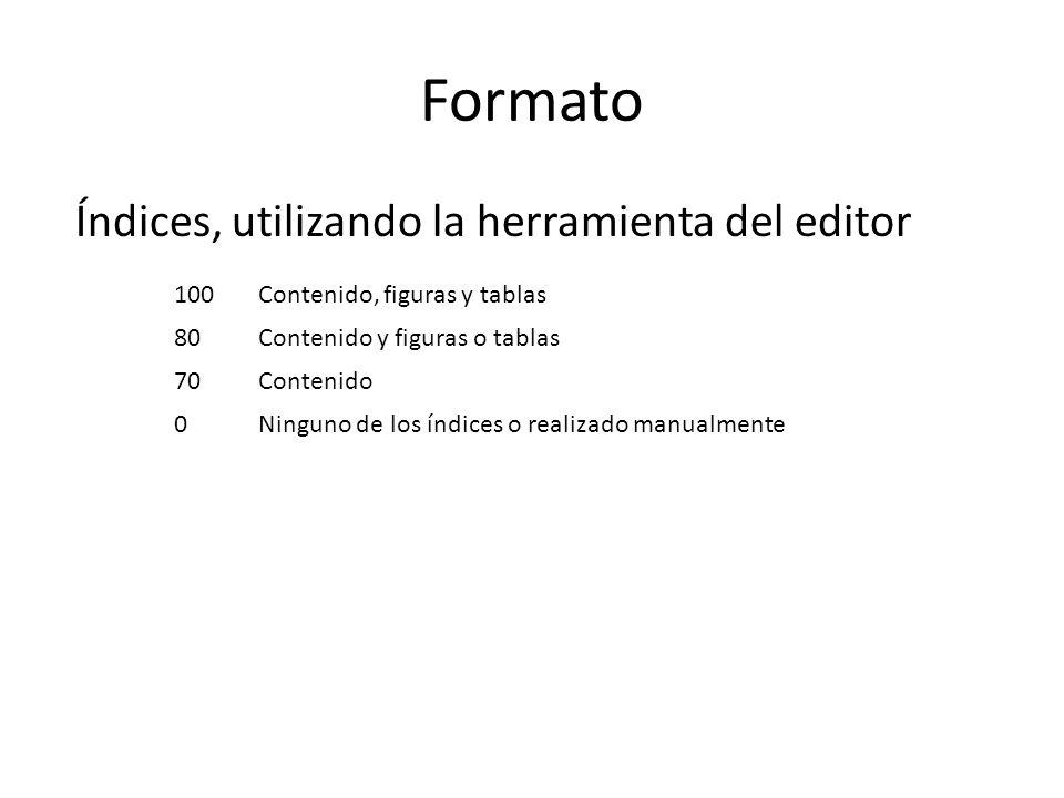 Formato Índices, utilizando la herramienta del editor 100