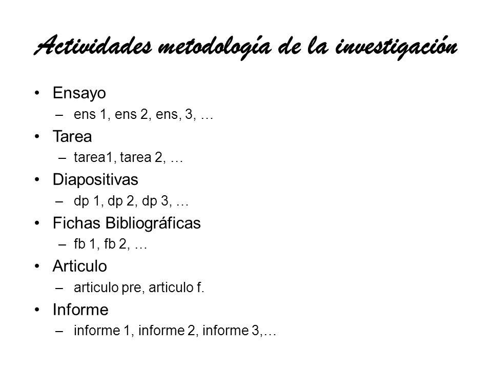 Actividades metodología de la investigación