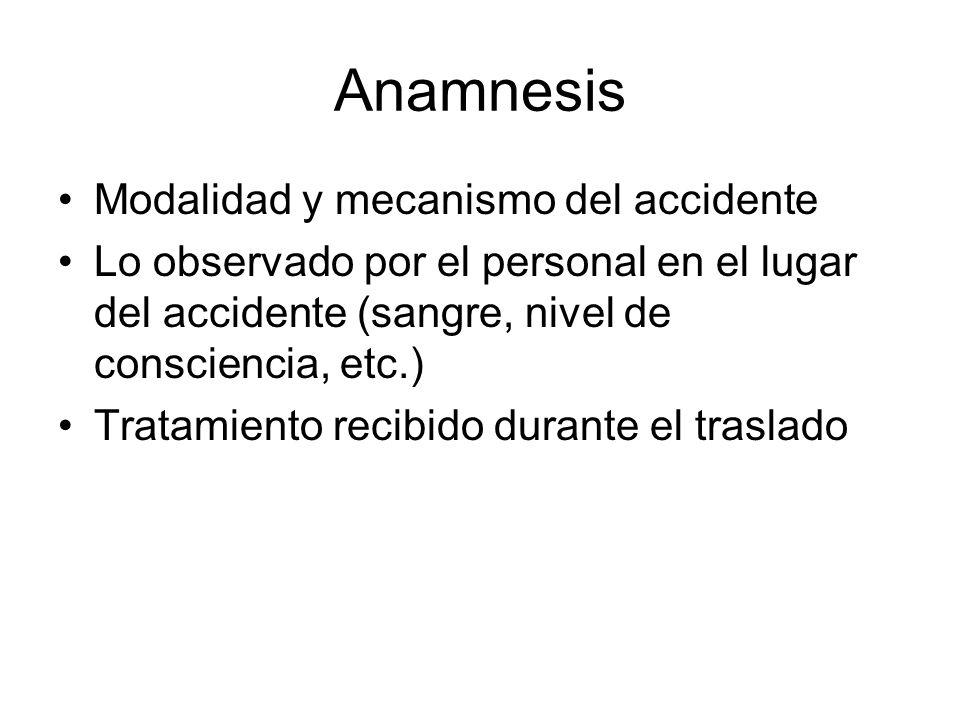 Anamnesis Modalidad y mecanismo del accidente