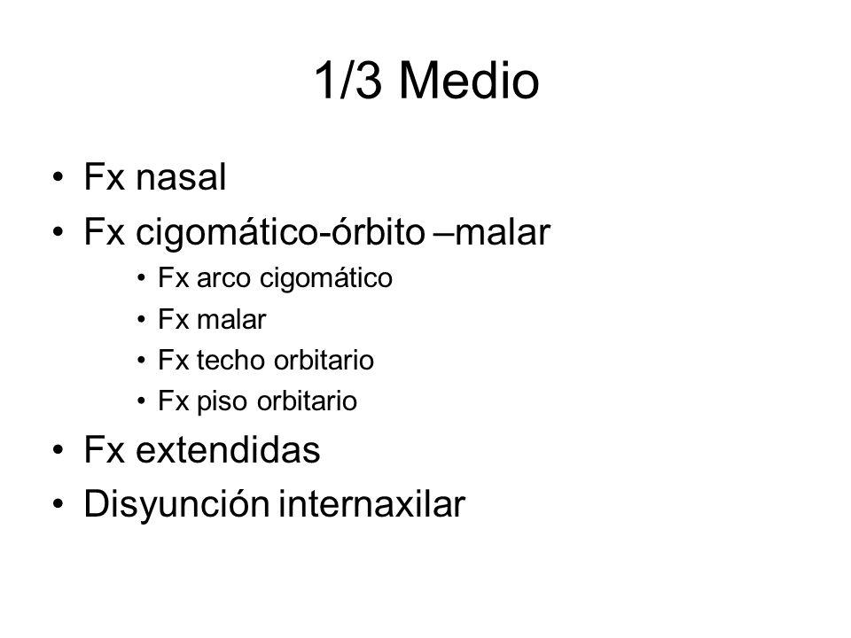 1/3 Medio Fx nasal Fx cigomático-órbito –malar Fx extendidas