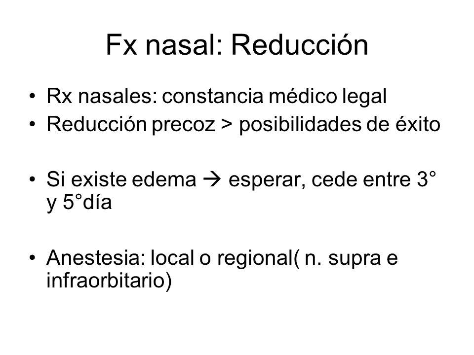 Fx nasal: Reducción Rx nasales: constancia médico legal