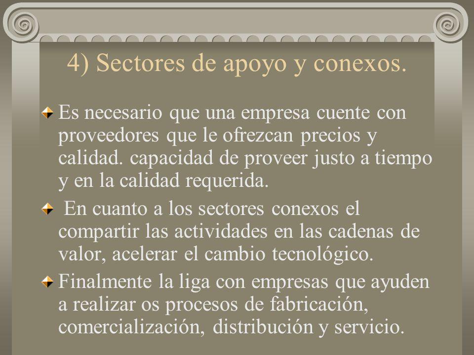 4) Sectores de apoyo y conexos.