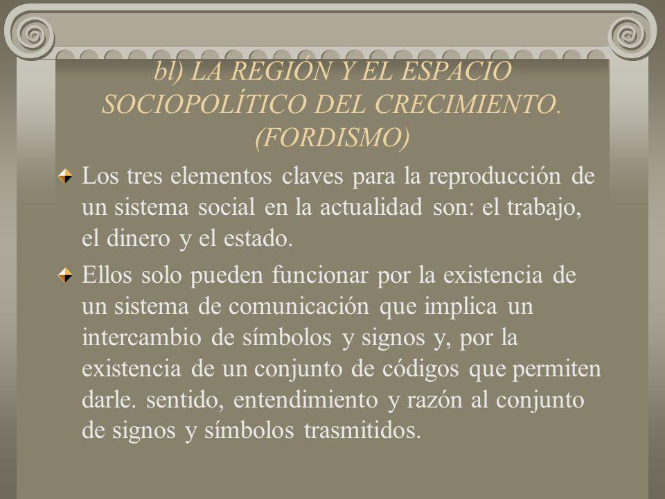 bl) LA REGIÓN Y EL ESPACIO SOCIOPOLÍTICO DEL CRECIMIENTO. (FORDISMO)