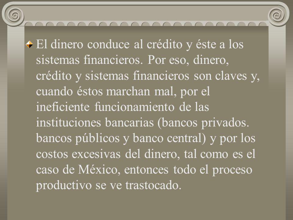El dinero conduce al crédito y éste a los sistemas financieros