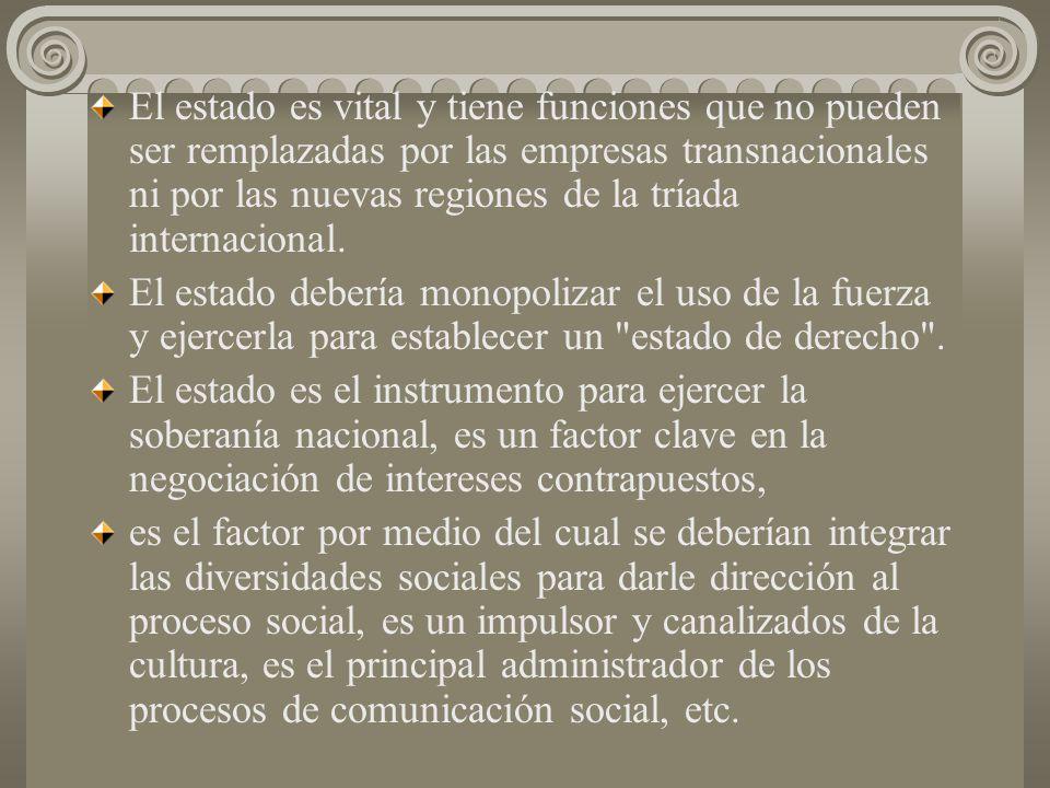 El estado es vital y tiene funciones que no pueden ser remplazadas por las empresas transnacionales ni por las nuevas regiones de la tríada internacional.