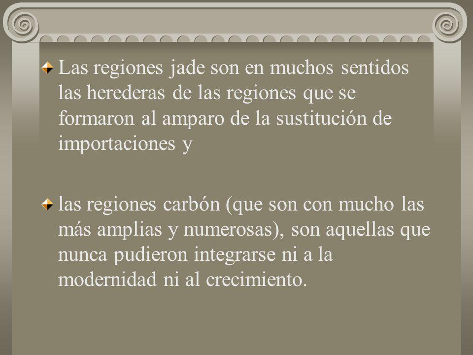 Las regiones jade son en muchos sentidos las herederas de las regiones que se formaron al amparo de la sustitución de importaciones y