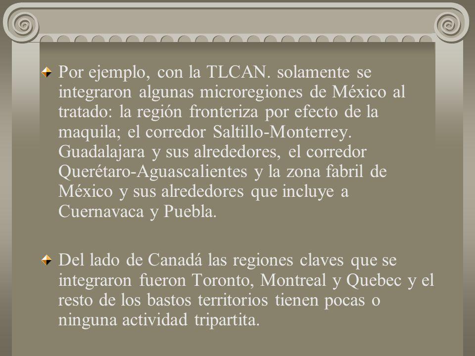 Por ejemplo, con la TLCAN