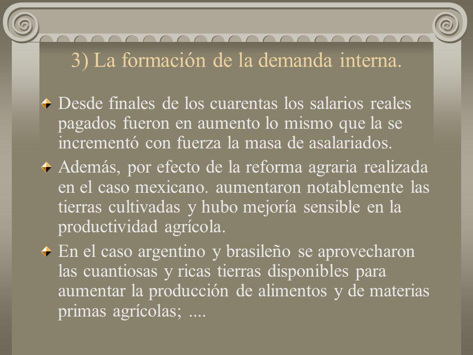 3) La formación de la demanda interna.