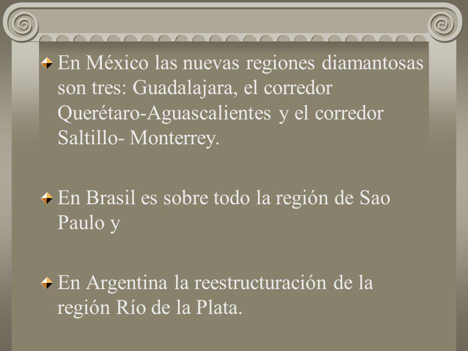 En México las nuevas regiones diamantosas son tres: Guadalajara, el corredor Querétaro-Aguascalientes y el corredor Saltillo- Monterrey.