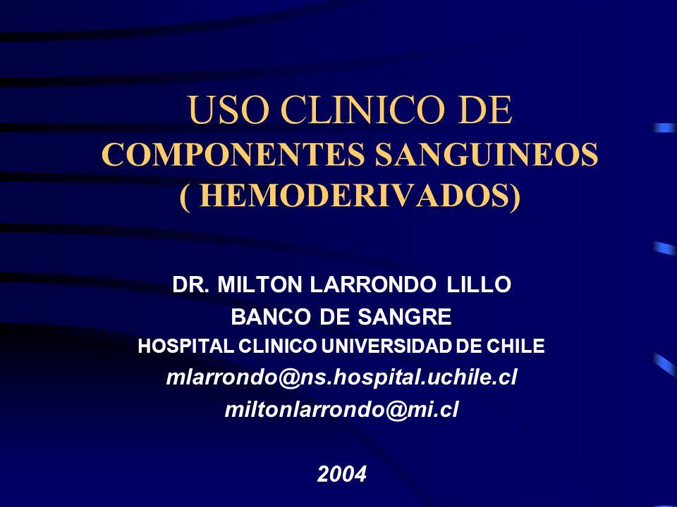 USO CLINICO DE COMPONENTES SANGUINEOS ( HEMODERIVADOS)
