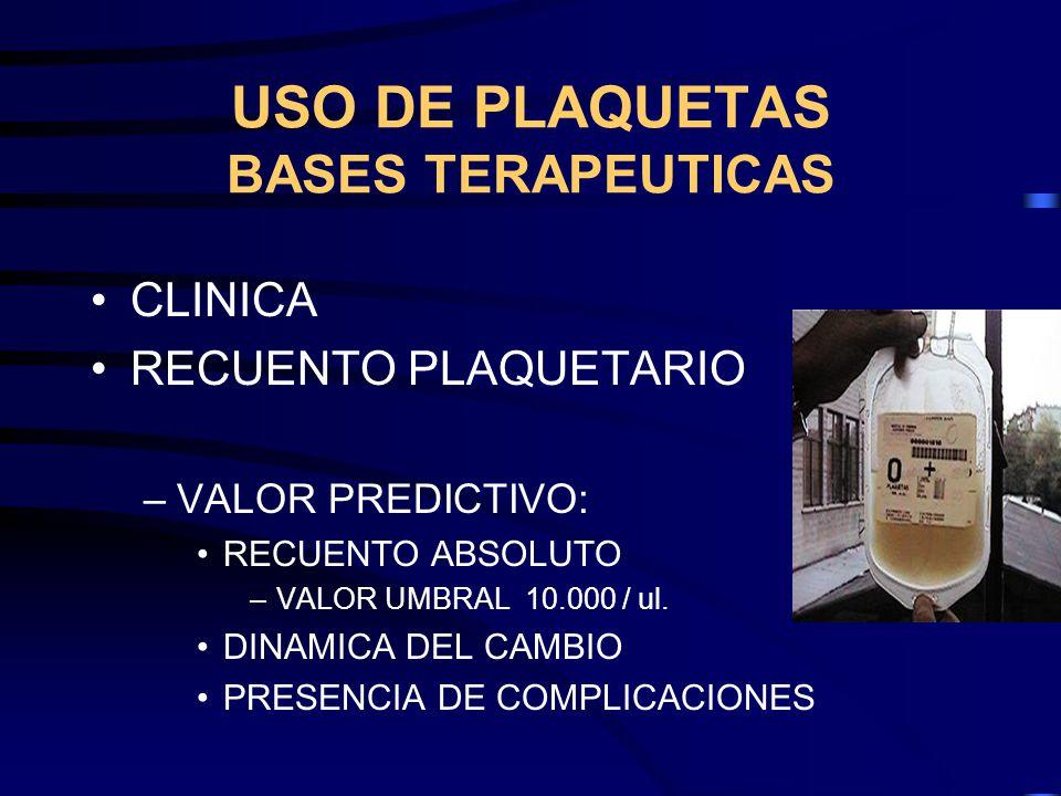USO DE PLAQUETAS BASES TERAPEUTICAS