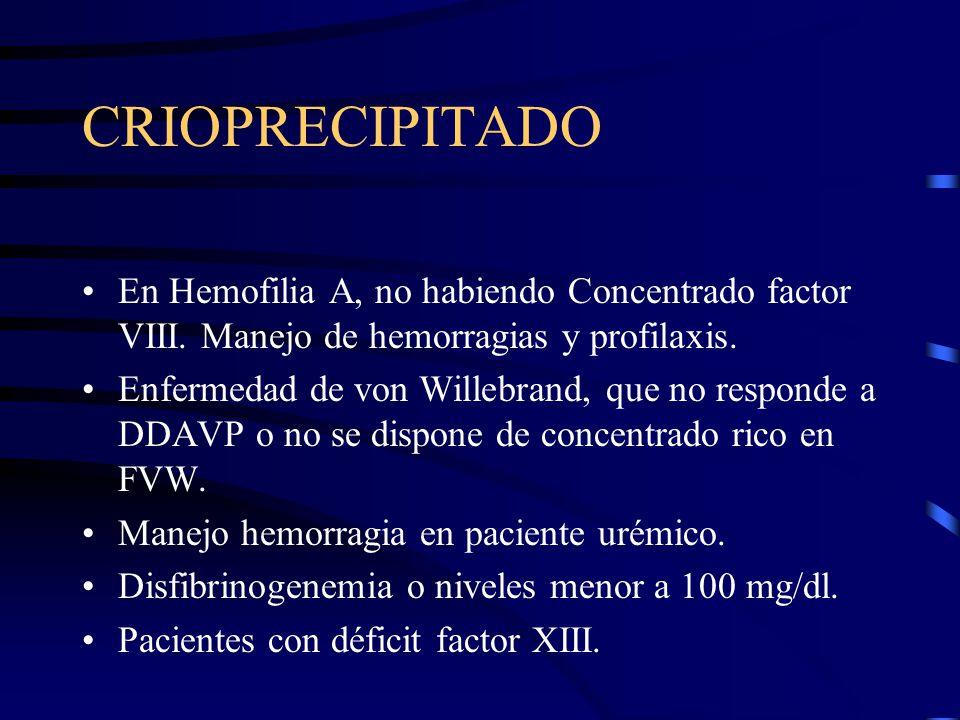 CRIOPRECIPITADO En Hemofilia A, no habiendo Concentrado factor VIII. Manejo de hemorragias y profilaxis.