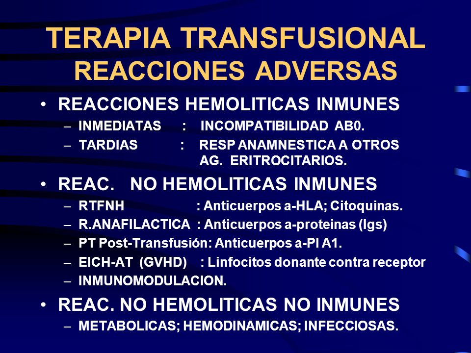 TERAPIA TRANSFUSIONAL REACCIONES ADVERSAS
