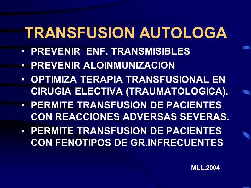 TRANSFUSION AUTOLOGA PREVENIR ENF. TRANSMISIBLES