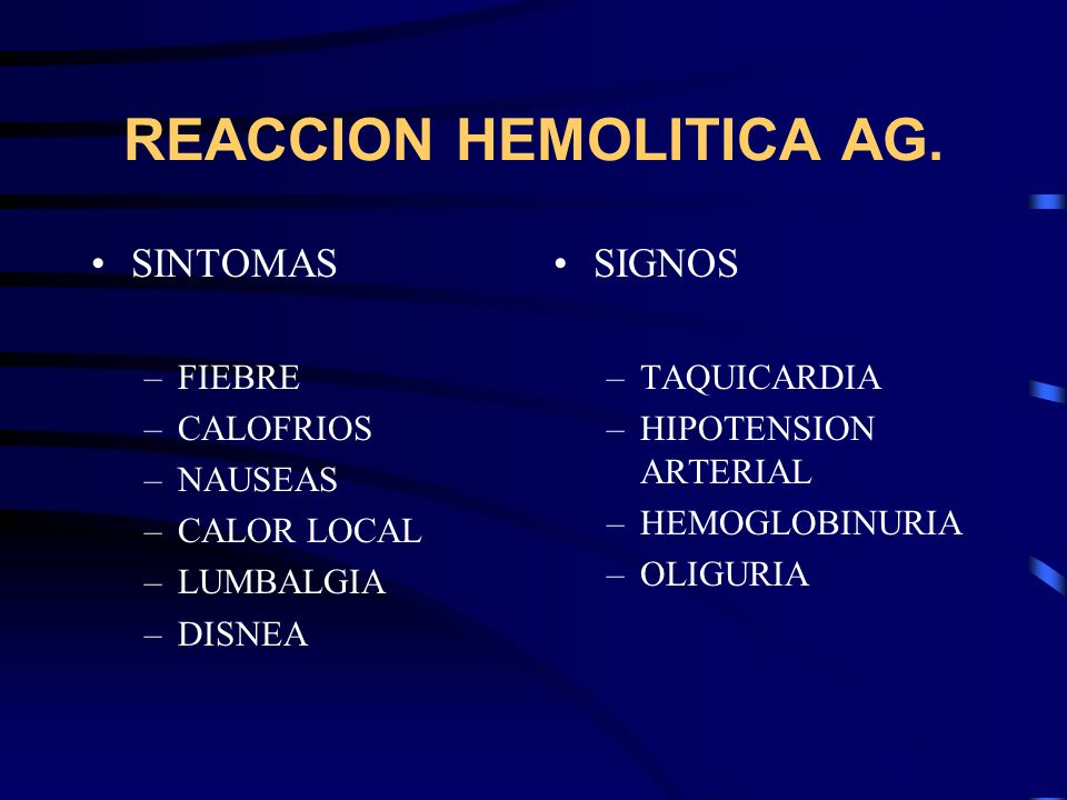 REACCION HEMOLITICA AG.