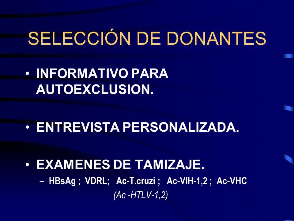SELECCIÓN DE DONANTES INFORMATIVO PARA AUTOEXCLUSION.