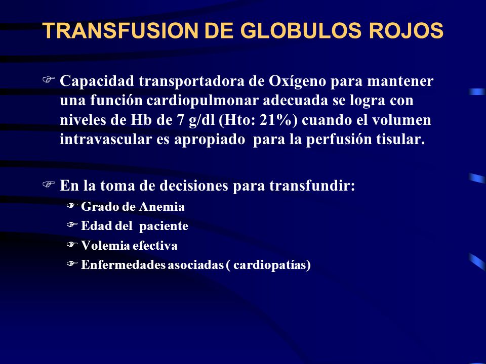 TRANSFUSION DE GLOBULOS ROJOS