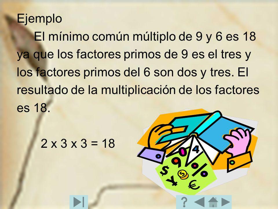 Ejemplo El mínimo común múltiplo de 9 y 6 es 18. ya que los factores primos de 9 es el tres y. los factores primos del 6 son dos y tres. El.