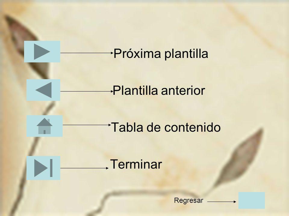 Próxima plantilla Plantilla anterior Tabla de contenido Terminar