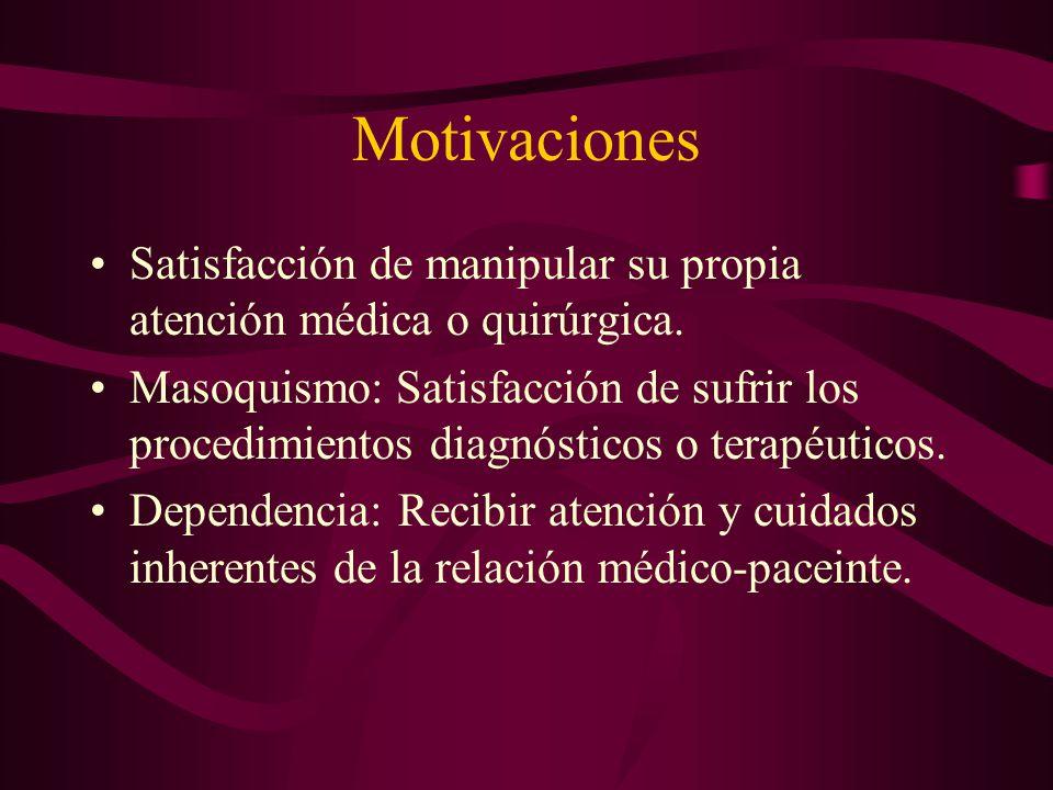 Motivaciones Satisfacción de manipular su propia atención médica o quirúrgica.