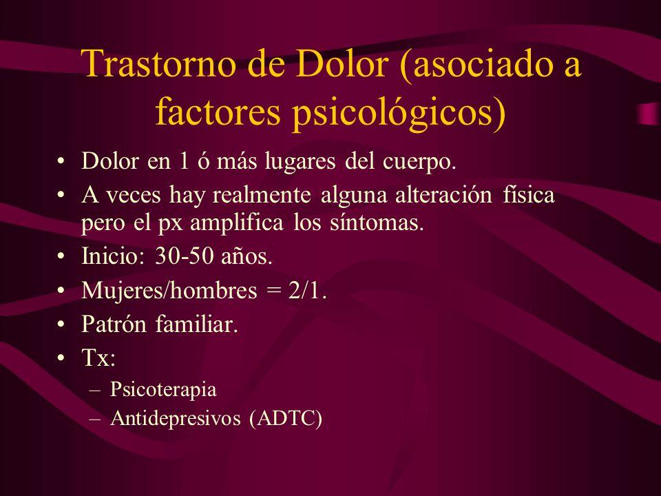 Trastorno de Dolor (asociado a factores psicológicos)