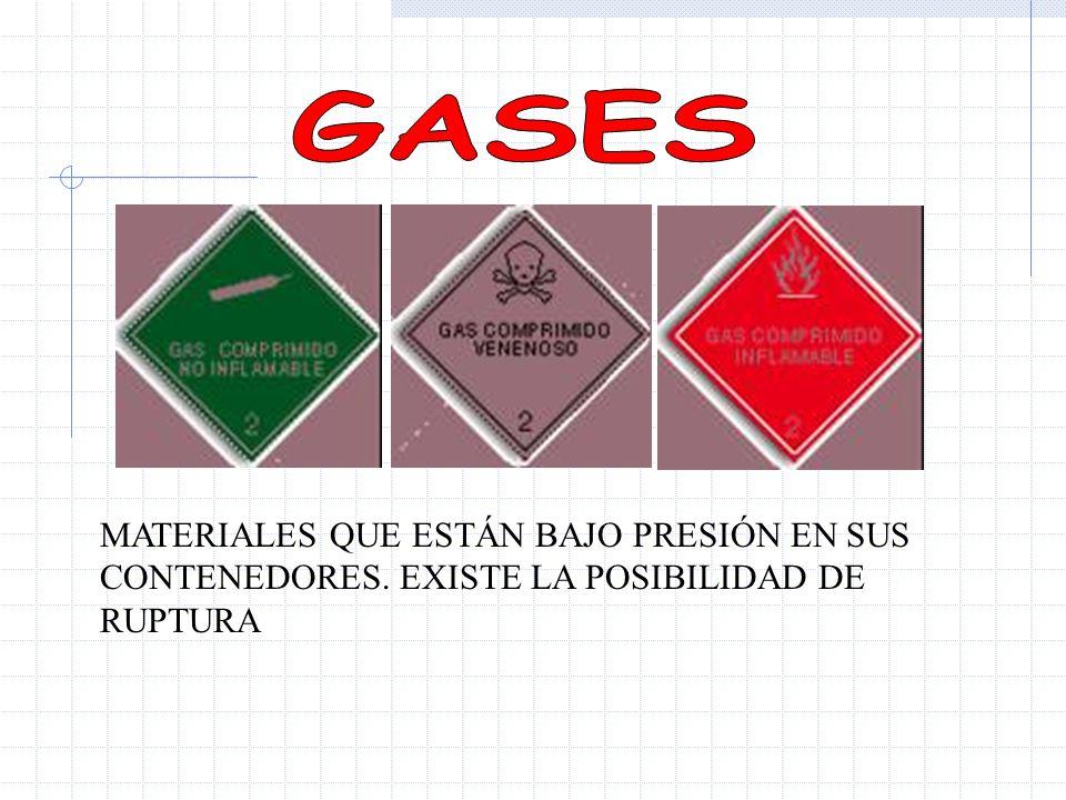 GASES MATERIALES QUE ESTÁN BAJO PRESIÓN EN SUS CONTENEDORES. EXISTE LA POSIBILIDAD DE RUPTURA