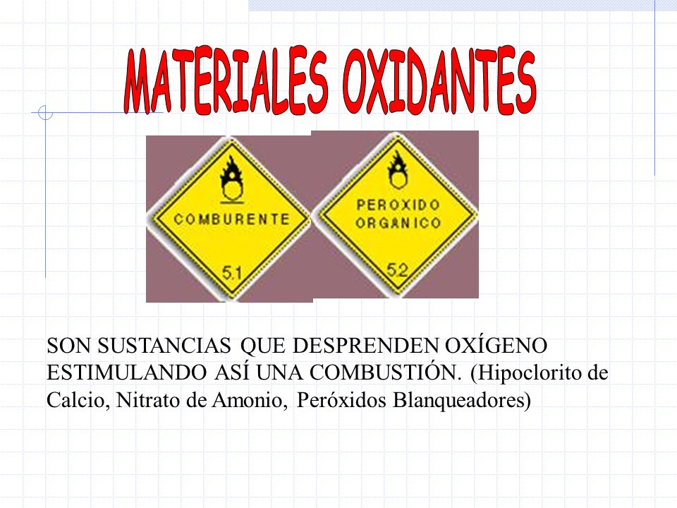 MATERIALES OXIDANTES