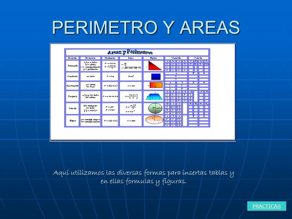PERIMETRO Y AREAS Aquí utilizamos las diversas formas para insertas tablas y en ellas formulas y figuras.