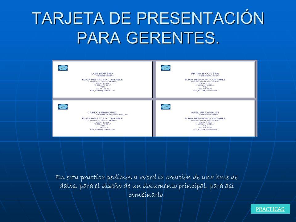 TARJETA DE PRESENTACIÓN PARA GERENTES.