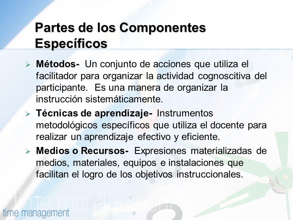 Partes de los Componentes Específicos