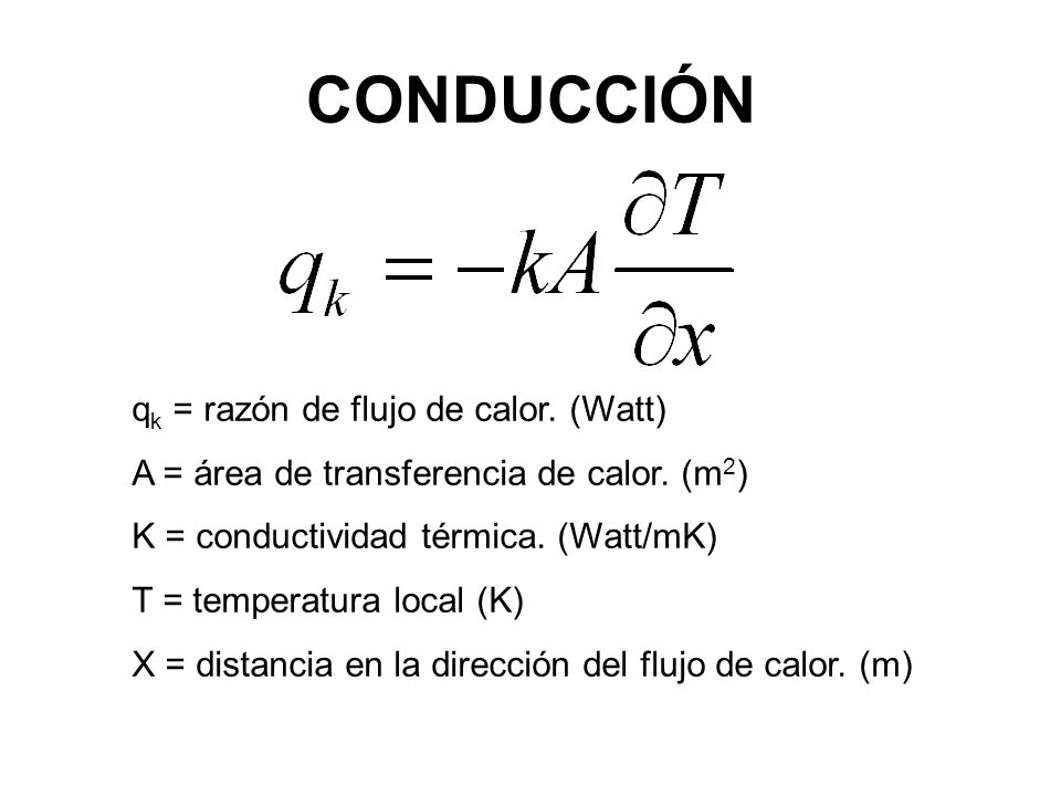 CONDUCCIÓN qk = razón de flujo de calor. (Watt)