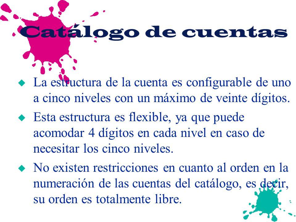Catálogo de cuentas La estructura de la cuenta es configurable de uno a cinco niveles con un máximo de veinte dígitos.