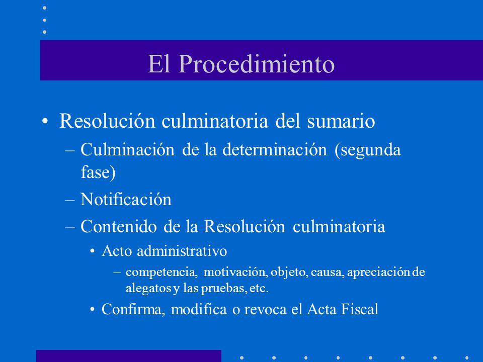 El Procedimiento Resolución culminatoria del sumario