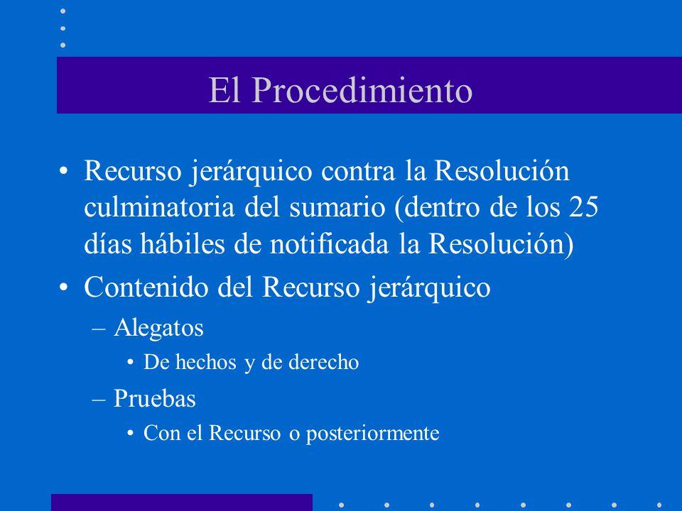 El Procedimiento Recurso jerárquico contra la Resolución culminatoria del sumario (dentro de los 25 días hábiles de notificada la Resolución)