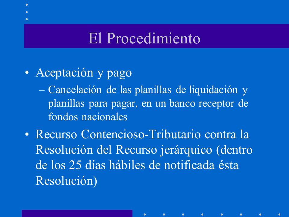 El Procedimiento Aceptación y pago