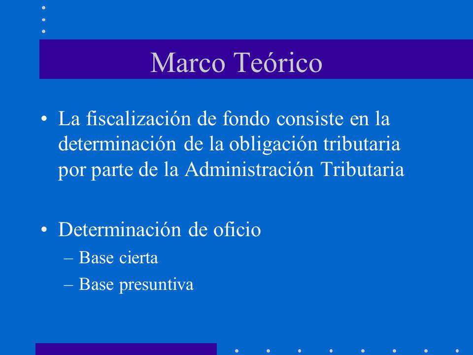Marco Teórico La fiscalización de fondo consiste en la determinación de la obligación tributaria por parte de la Administración Tributaria.