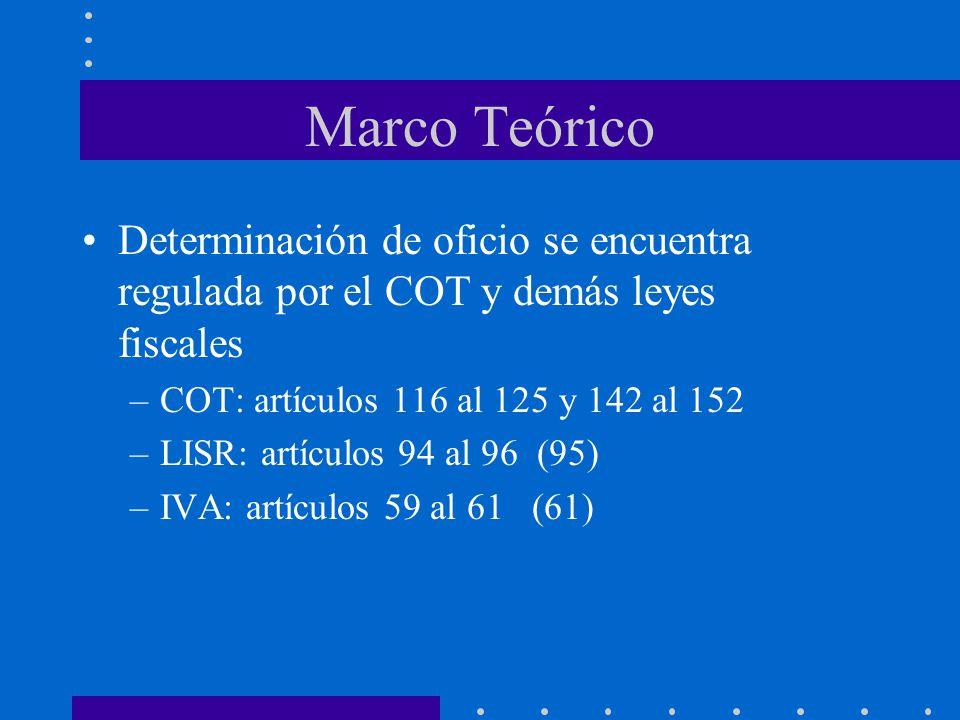 Marco Teórico Determinación de oficio se encuentra regulada por el COT y demás leyes fiscales. COT: artículos 116 al 125 y 142 al 152.