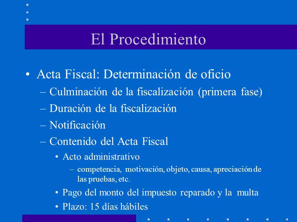 El Procedimiento Acta Fiscal: Determinación de oficio