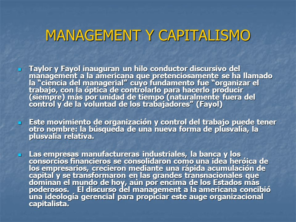 MANAGEMENT Y CAPITALISMO