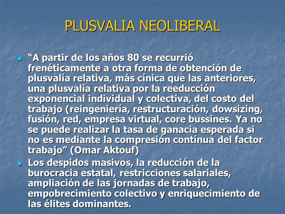 PLUSVALIA NEOLIBERAL
