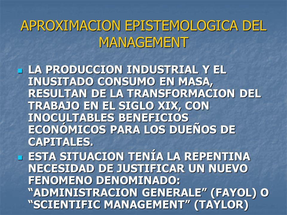 APROXIMACION EPISTEMOLOGICA DEL MANAGEMENT