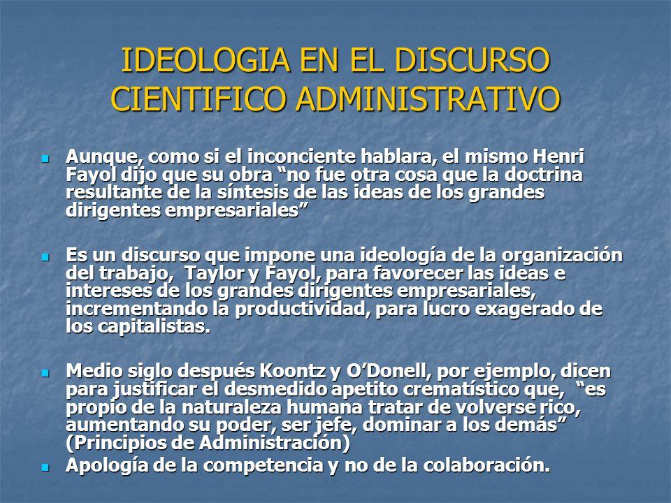 IDEOLOGIA EN EL DISCURSO CIENTIFICO ADMINISTRATIVO