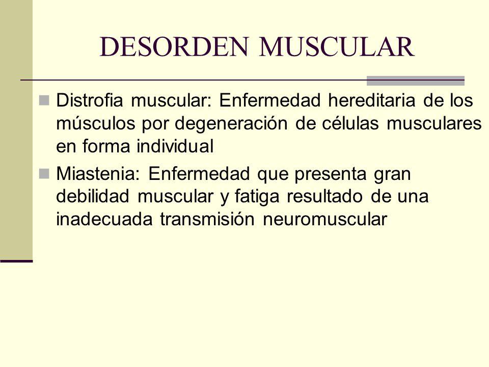 DESORDEN MUSCULAR Distrofia muscular: Enfermedad hereditaria de los músculos por degeneración de células musculares en forma individual.