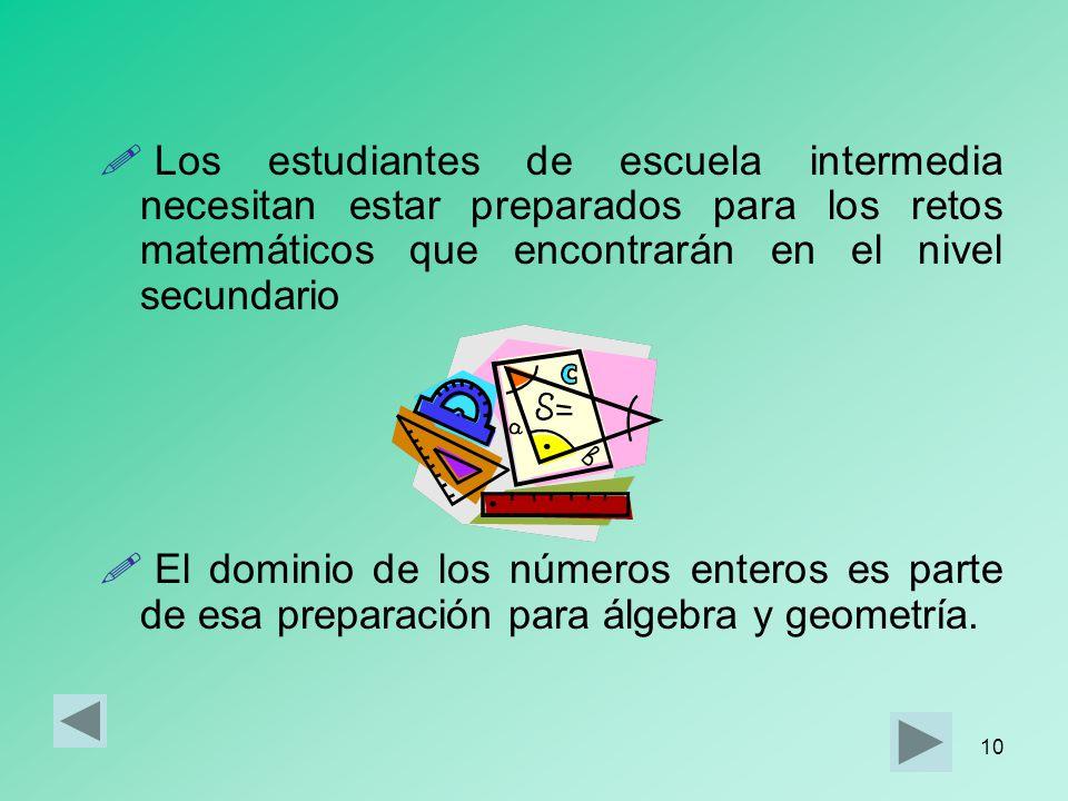 Los estudiantes de escuela intermedia necesitan estar preparados para los retos matemáticos que encontrarán en el nivel secundario