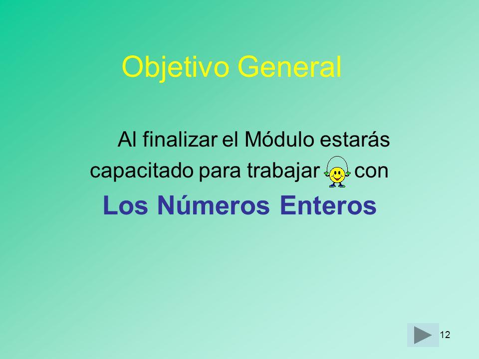 Objetivo General Los Números Enteros Al finalizar el Módulo estarás