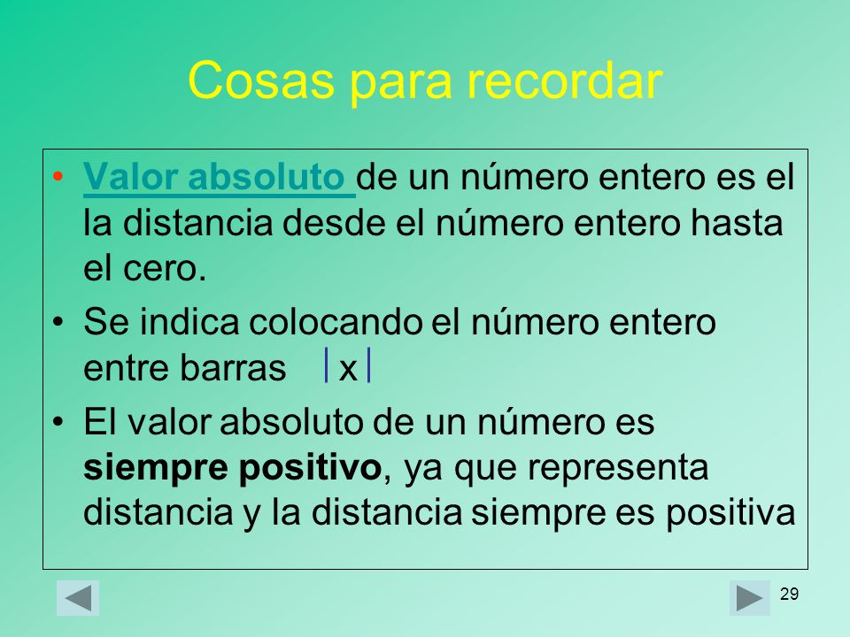 Cosas para recordar Valor absoluto de un número entero es el la distancia desde el número entero hasta el cero.